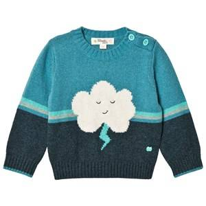 The Bonnie Mob Boys Jumpers and knitwear Blue Flash Cloud Intarsia Sweater Teal