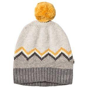 The Bonnie Mob Unisex Headwear Grey Chunky Knitted Pom Pom Hat Grey