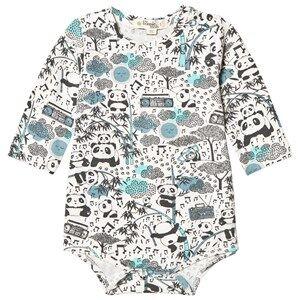 The Bonnie Mob Boys All in ones Blue Panda Print Baby Body Blue