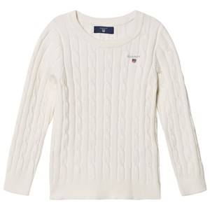 Gant Girls Childrens Clothes Jumpers and knitwear White Cable Knit Sweater Eggshell