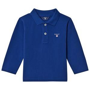 Gant Boys Tops Blue Blue Shield Long Sleeve Pique Polo