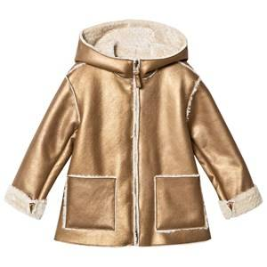 Il Gufo Girls Coats and jackets Gold Gold Shearling Hooded Coat
