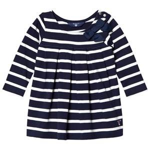 Image of Gant Girls Dresses Navy Navy and White Stripe Jersey Dress with Bow