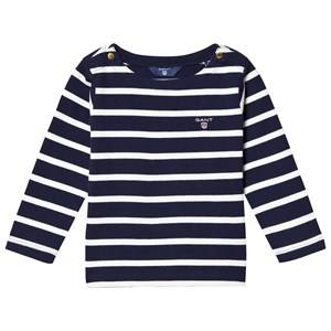 Gant Girls Jumpers and knitwear Navy Navy Stripe Boat Neck Jumper