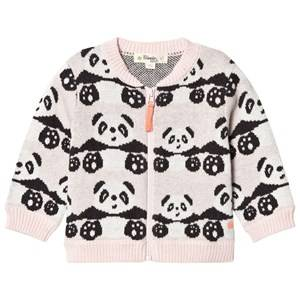 Image of The Bonnie Mob Girls Jumpers and knitwear Pink Panda Jacquard Cardigan Pale Pink