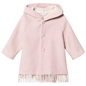 Il Gufo Girls Coats and jackets Pink Pink Brushed Wool Fringe Hooded Coat