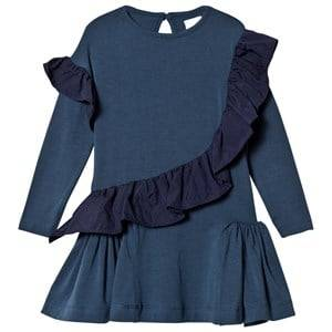 No Added Sugar Girls Dresses Navy Blue Jersey Dress Ruffle