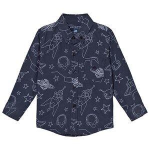 Andy & Evan Boys Tops Navy Navy Galaxy Print Shirt