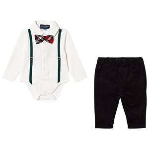 Andy & Evan Boys Clothing sets White Holiday Polo Shirtzie Set