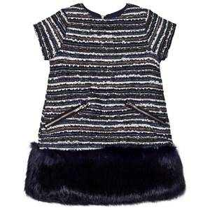 Andy & Evan Girls Dresses Navy Navy Multi Stripes Brocade Fur Dress