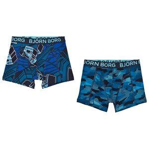 Bjorn Borg Boys Underwear Black 2-Pack Blue/Camo Branded Trunks