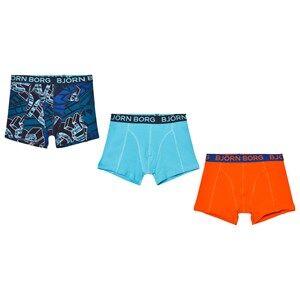 Bjorn Borg Boys Underwear Multi 3-Pack Orange, Blue and Print Trunks