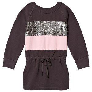 Kiss How To Kiss A Frog Girls Dresses Grey Gunnel Dress Dark Grey/Pink/Stripe