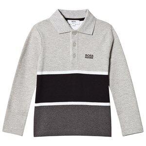 Boss Boys Tops Grey Grey and Black Stripe Long Sleeve Polo