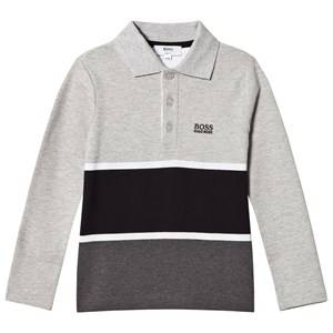 Boss Boys Tops Grey Grey and Black Stripe Long Sleeve Polo