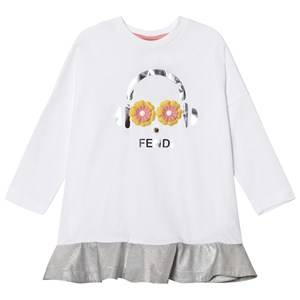 Image of Fendi Girls Dresses White White and Silver Fendirumi Jesey and Woven Dress
