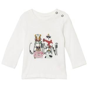 Catimini Boys Tops White White Polar Animal Print Long Sleeve Tee