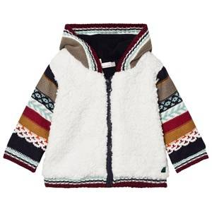 Image of Catimini Boys Jumpers and knitwear Multi Cream Teddy Cardigan with Multi Knit Sleeves