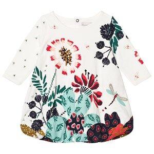 Catimini Girls Dresses Cream Cream Flower and Bird Print Jersey Bubble Dress