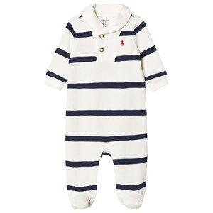Ralph Lauren Boys All in ones Cream Footed Baby Body Cream/Navy Stripe