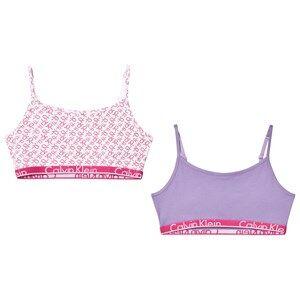 Calvin Klein Girls Underwear Pink 2-Pack Pink/Lilac Branded String Bralettes