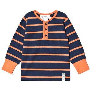 Geggamoja Boys Tops Blue Grandpa Tee Marine/Orange