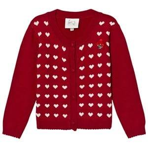 Le Chic Girls Jumpers and knitwear Red Red Hearts Intarsia Cardigan