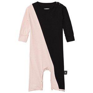 Image of NUNUNU Unisex All in ones Black Half & Half Playsuit Black/Powder Pink