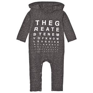 Image of NUNUNU Unisex All in ones Grey Vision Test Hooded Playsuit Charcoal