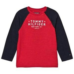 Tommy Hilfiger Boys Tops Red Red/Navy Branded Long Sleeve Tee
