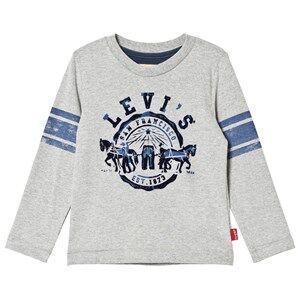 Levis Kids Boys Tops Grey Grey Flocked Logo Long Sleeve Tee