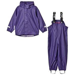 Ticket to heaven Girls Clothing sets Purple 2-Piece Authentic Rubber Rain Set with Detachable Hood Parachute Purple