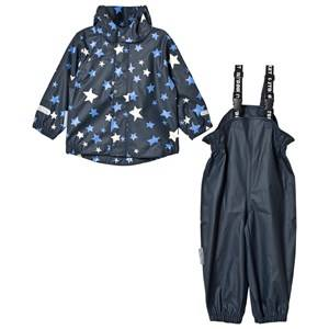 Ticket to heaven Unisex Clothing sets Blue 2-Piece Rubber Rain Set with Detachable Hood Provence Stars