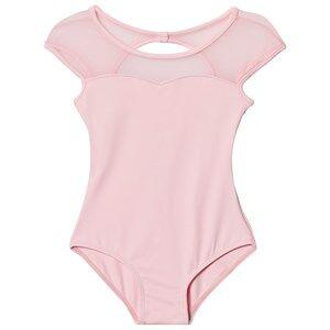 Bloch Girls All in ones Pink Pink Azurine Vine Flock, Scoop Back and Cap Sleeve Leotard
