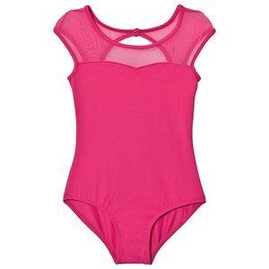 Image of Bloch Girls All in ones Pink Hot Pink Azurine Vine Flock, Scoop Back and Cap Sleeve Leotard