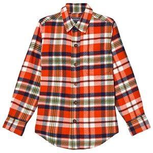 Lands End Boys Tops Red Red Lava Orange Plaid Flannel Shirt