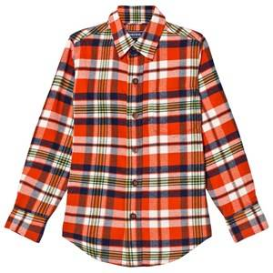 Lands End Boys Tops Red Red Lava Orange Plaid Flannel Shirt
