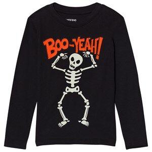 Lands End Boys Tops Black Black Skeleton Boo Long Sleeve Applique Tee