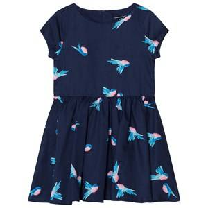 Image of Lands End Girls Dresses Navy Navy Birds Print Woven Twirl Dress