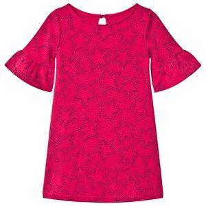 Lands End Girls Dresses Pink Hot Pink Star Pattern Bell Sleeve Ponte Dress