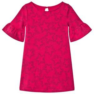 Image of Lands End Girls Dresses Pink Hot Pink Star Pattern Bell Sleeve Ponte Dress