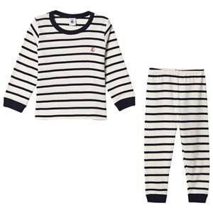Petit Bateau Unisex Nightwear White Pajama Set Creme/Marine