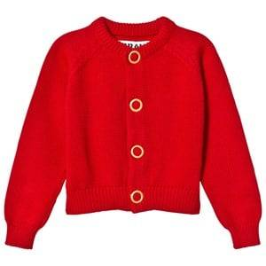 The BRAND Girls Private Label Jumpers and knitwear Red Puff Knit Cardigan Red Melange