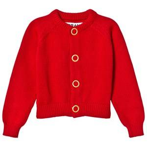 Image of The BRAND Girls Private Label Jumpers and knitwear Red Puff Knit Cardigan Red Melange