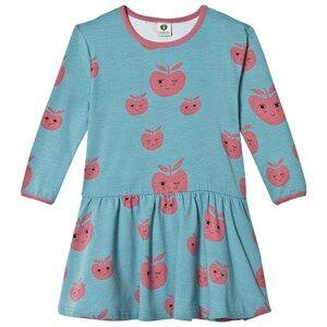 Småfolk Girls Dresses Blue Blue Apple Print Dress