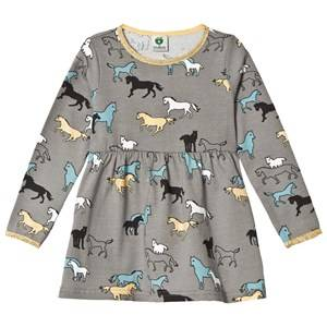 Småfolk Girls Dresses Grey Grey Horse Print Dress