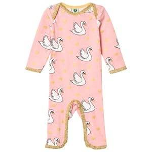 Småfolk Girls All in ones Pink Light Pink Swan Print One-Piece