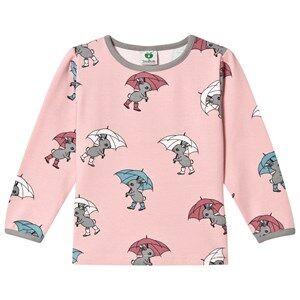 Småfolk Girls Tops Pink Pink Rabbit Umbrella Print Tee