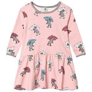 Småfolk Girls Dresses Pink Pink Rabbit Umbrella Print Dress