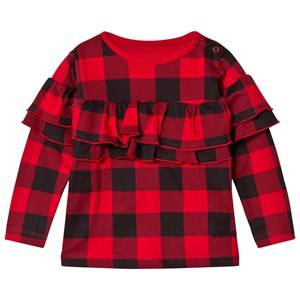 The BRAND Girls Private Label Tops Red Sleeve Wave Top Red Checkeredd